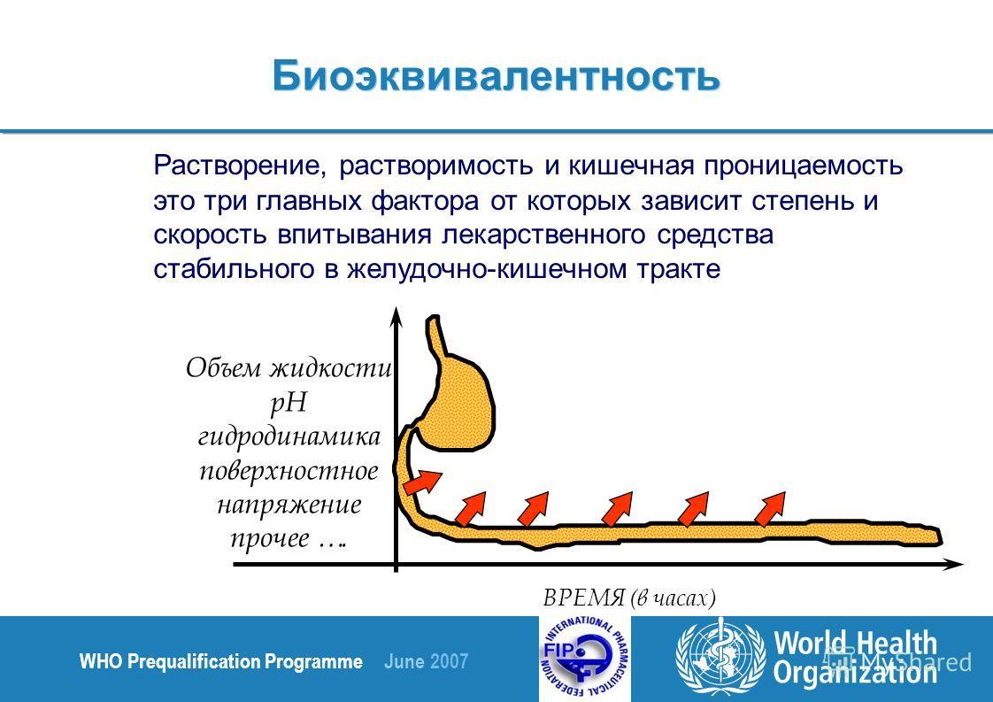 WHO Prequalification Programme June 2007 Биоэквивалентность Растворение, растворимость и кишечная проницаемость это три главных фактора от которых зависит степень и скорость впитывания лекарственного средства стабильного в желудочно-кишечном тракте В