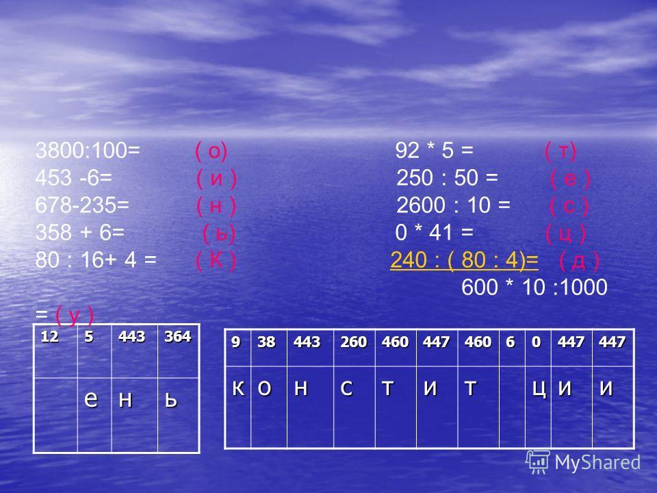 125443364 ень 3800:100= ( о) 92 * 5 = ( т) 453 -6= ( и ) 250 : 50 = ( е ) 678-235= ( н ) 2600 : 10 = ( с ) 358 + 6= ( ь) 0 * 41 = ( ц ) 80 : 16+ 4 = ( К ) 240 : ( 80 : 4)= ( д ) 600 * 10 :1000 = ( у )240 : ( 80 : 4)=93844326046044746060447447конститц