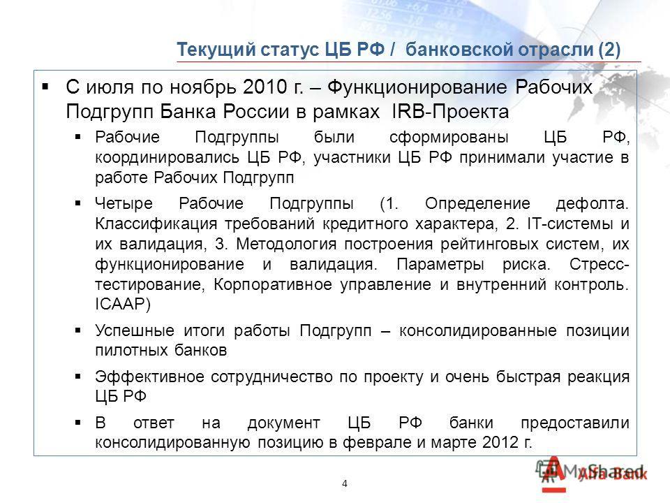 3 Январь 2011 г. – Предложения по IRB со стороны ЦБ РФ (за исключением Компонента 2). Июнь 2011 г. – ЦБ РФ опубликовал T-96 (Рекомендации по ВПОДК и Компоненту 2) (РП4). Ноябрь 2011 г. – Пилотные банки предоставили консолидированные позиции по Компон