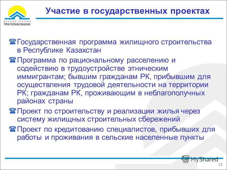 Участие в государственных проектах Государственная программа жилищного строительства в Республике Казахстан Программа по рациональному расселению и содействию в трудоустройстве этническим иммигрантам; бывшим гражданам РК, прибывшим для осуществления