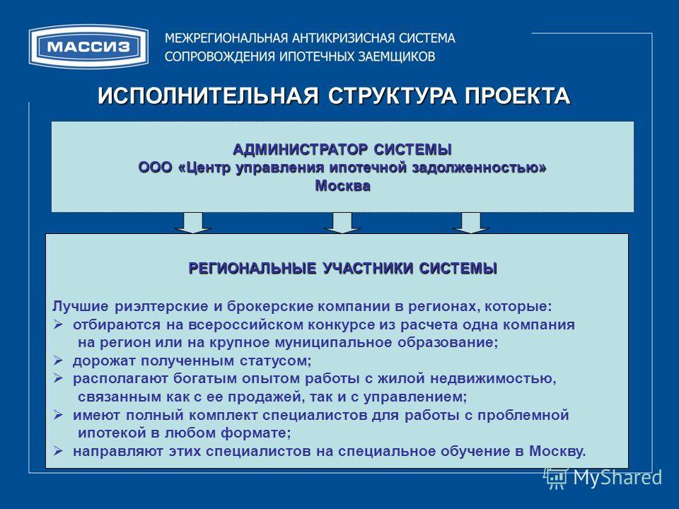 ИСПОЛНИТЕЛЬНАЯ СТРУКТУРА ПРОЕКТА АДМИНИСТРАТОР СИСТЕМЫ ООО «Центр управления ипотечной задолженностью» Москва Ухудшение балансов кредиторов. РЕГИОНАЛЬНЫЕ УЧАСТНИКИ СИСТЕМЫ РЕГИОНАЛЬНЫЕ УЧАСТНИКИ СИСТЕМЫ Лучшие риэлтерские и брокерские компании в реги