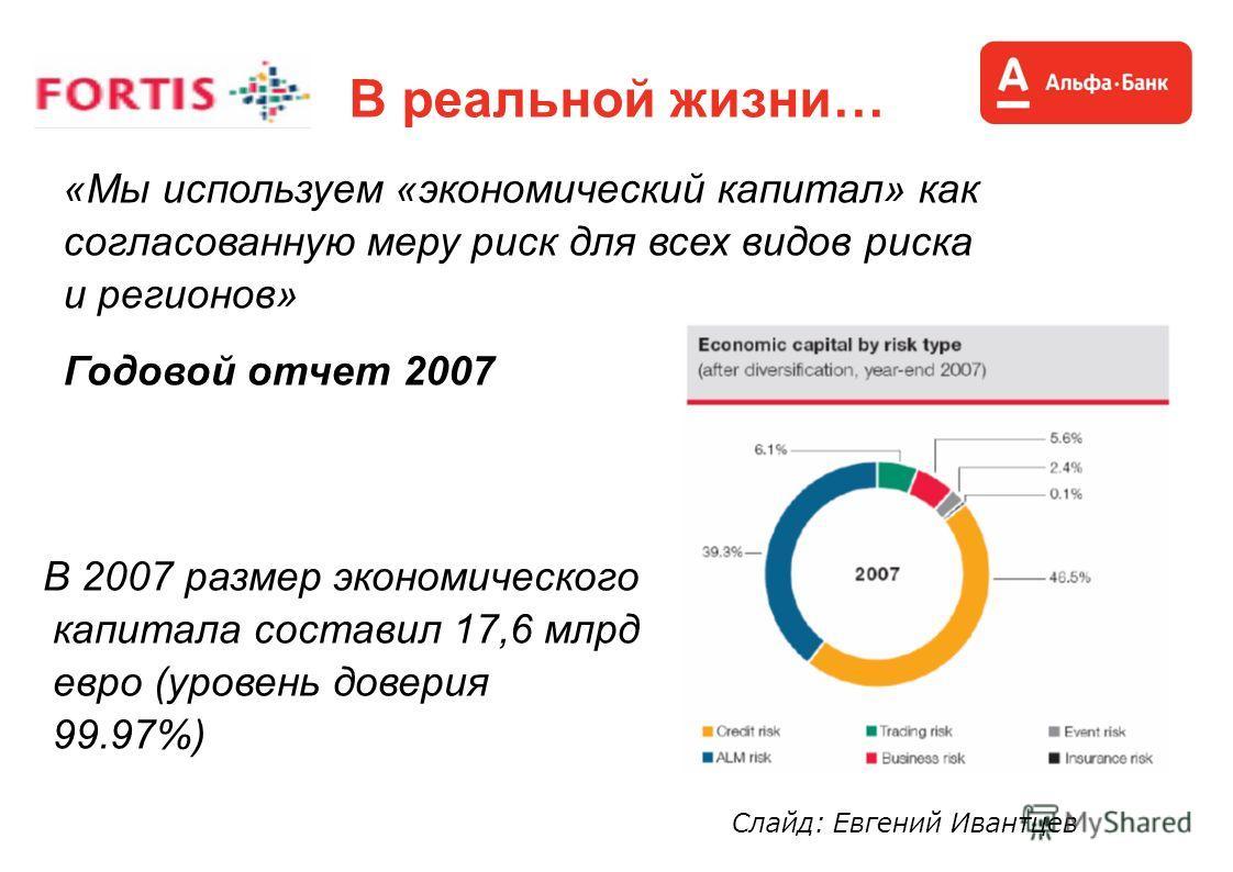 В реальной жизни… «Мы используем «экономический капитал» как согласованную меру риск для всех видов риска и регионов» Годовой отчет 2007 В 2007 размер экономического капитала составил 17,6 млрд евро (уровень доверия 99.97%) Слайд: Евгений Ивантцев