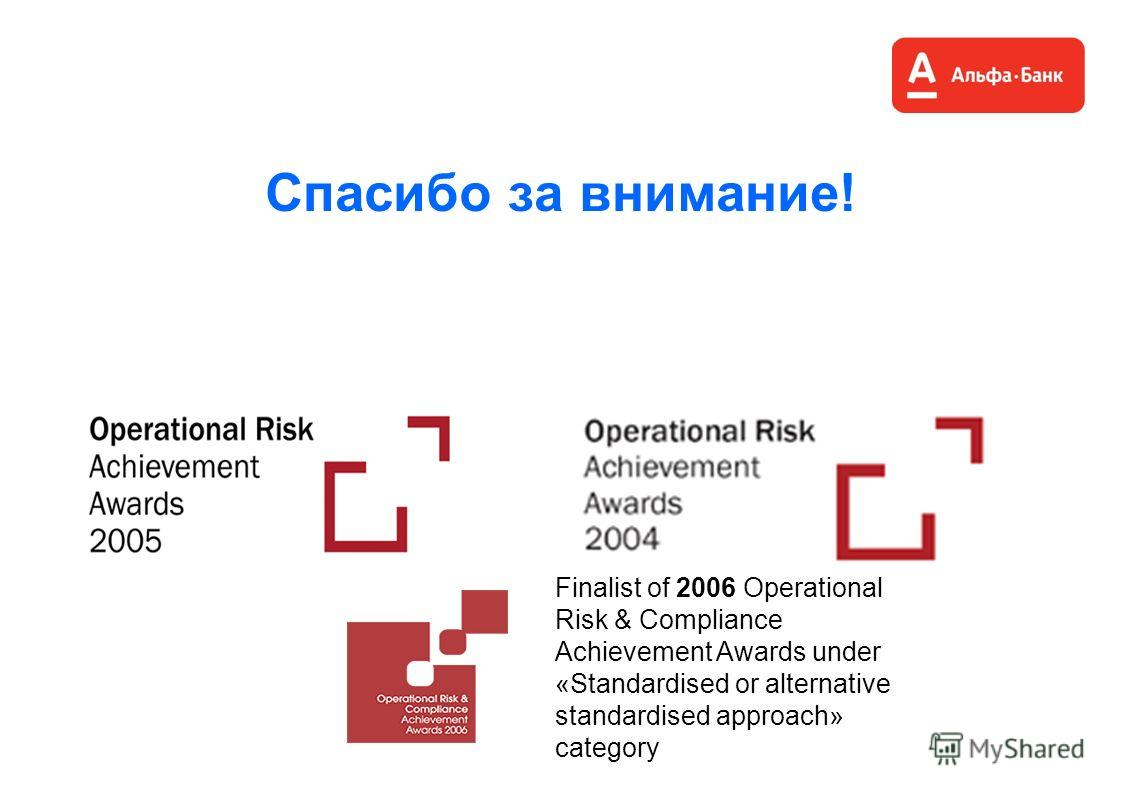 Спасибо за внимание! Finalist of 2006 Operational Risk & Compliance Achievement Awards under «Standardised or alternative standardised approach» category