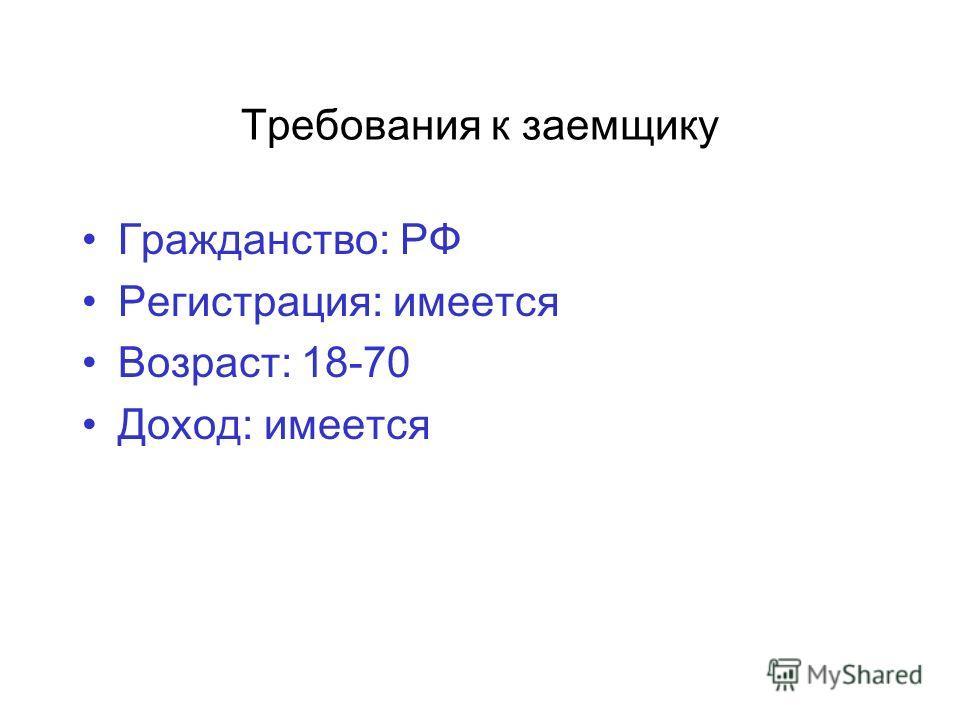 Требования к заемщику Гражданство: РФ Регистрация: имеется Возраст: 18-70 Доход: имеется