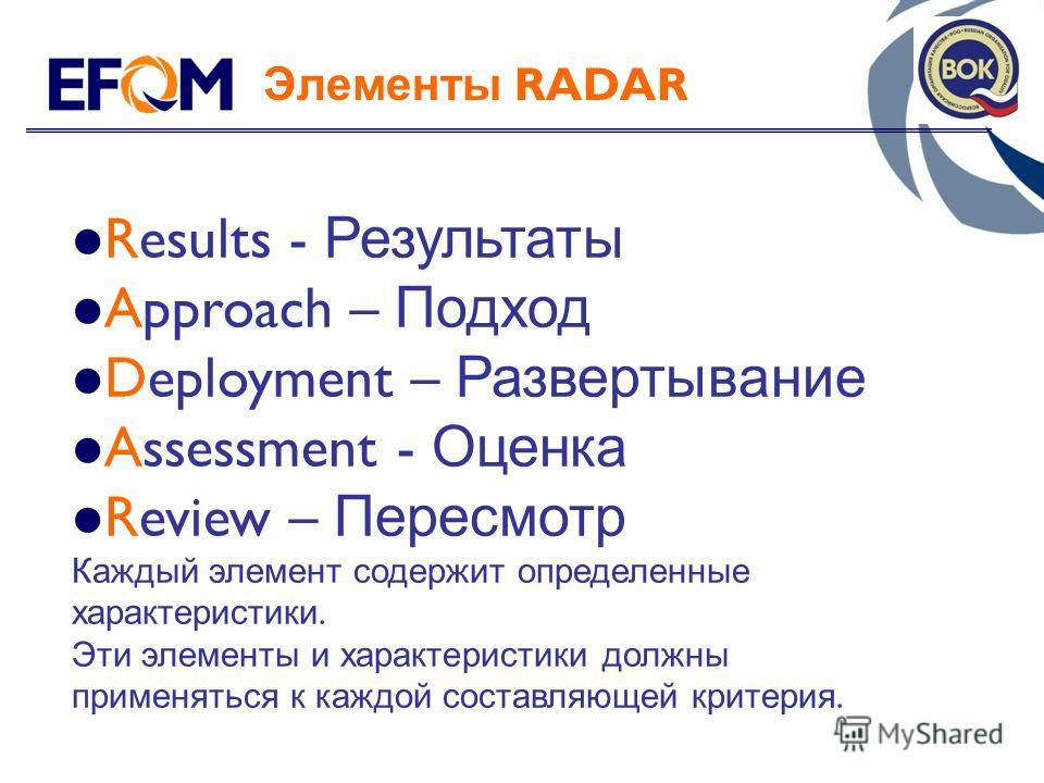 Элементы RADAR Results - Результаты Approach – Подход Deployment – Развертывание Assessment - Оценка Review – Пересмотр Каждый элемент содержит определенные характеристики. Эти элементы и характеристики должны применяться к каждой составляющей критер