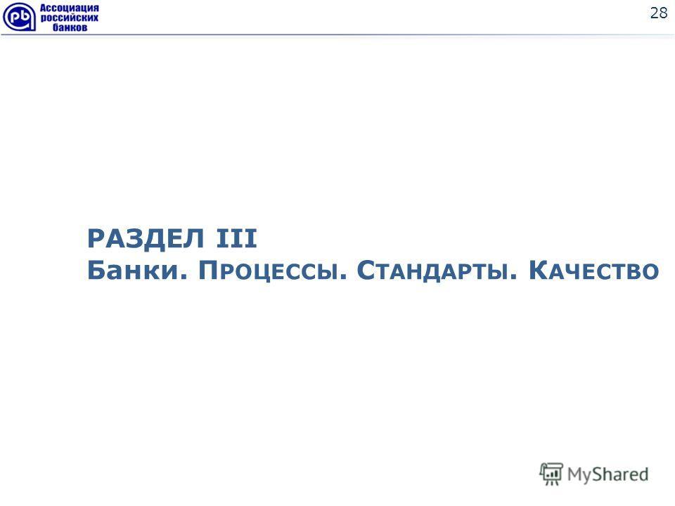 28 РАЗДЕЛ III Банки. П РОЦЕССЫ. С ТАНДАРТЫ. К АЧЕСТВО