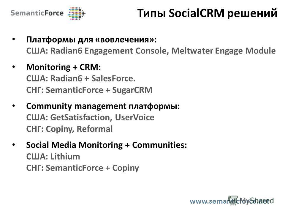 Типы SocialCRM решений Платформы для «вовлечения»: США: Radian6 Engagement Console, Meltwater Engage Module Monitoring + CRM: США: Radian6 + SalesForce. СНГ: SemanticForce + SugarCRM Community management платформы: США: GetSatisfaction, UserVoice СНГ