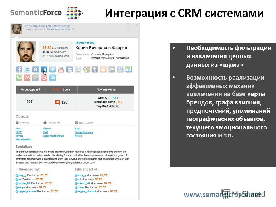 Интеграция с CRM системами www.semanticforce.net Необходимость фильтрации и извлечения ценных данных из «шума» Возможность реализации эффективных механик вовлечения на базе карты брендов, графа влияния, предпочтений, упоминаний географических объекто