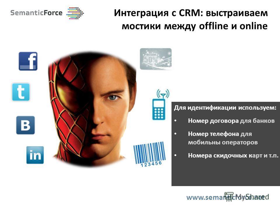 Интеграция с CRM: выстраиваем мостики между offline и online www.semanticforce.net Для идентификации используем: Номер договора для банков Номер телефона для мобильны операторов Номера скидочных карт и т.п.