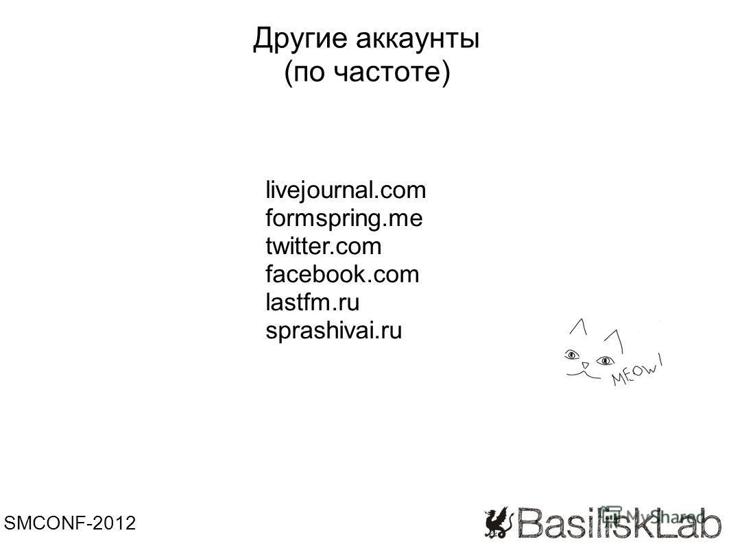 Другие аккаунты (по частоте) SMCONF-2012 livejournal.com formspring.me twitter.com facebook.com lastfm.ru sprashivai.ru