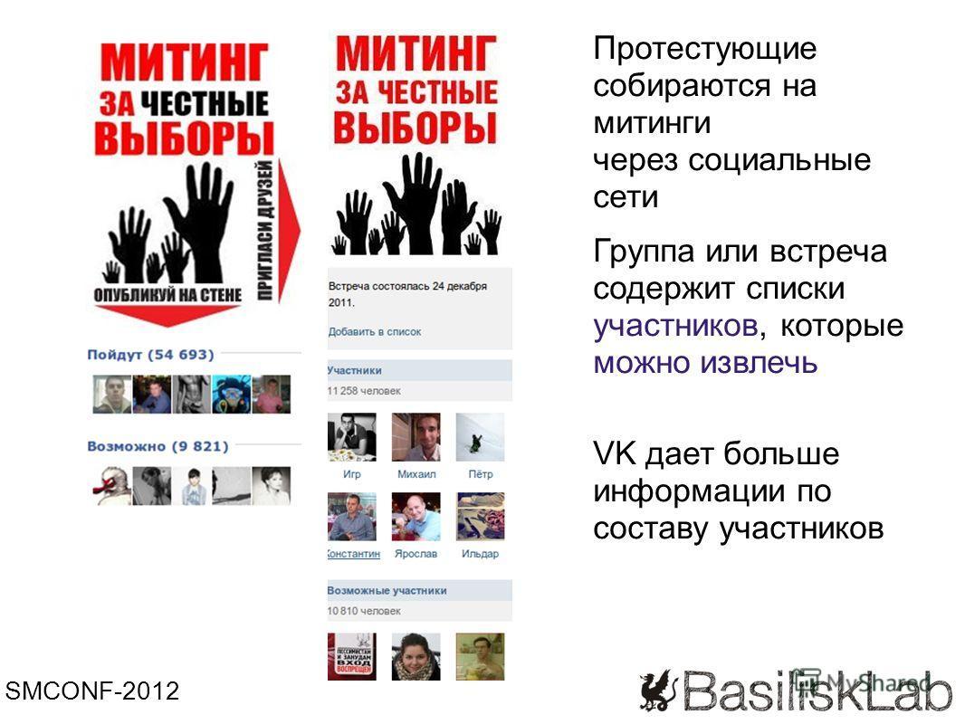 SMCONF-2012 Группа или встреча содержит списки участников, которые можно извлечь VK дает больше информации по составу участников Протестующие собираются на митинги через социальные сети