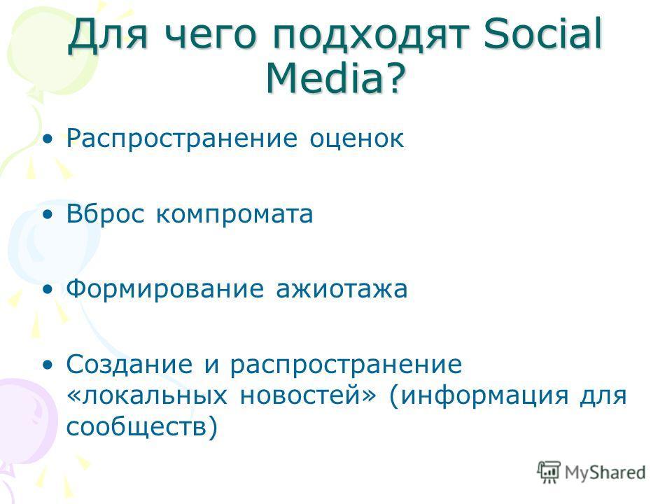 Для чего подходят Social Media? Распространение оценок Вброс компромата Формирование ажиотажа Создание и распространение «локальных новостей» (информация для сообществ)