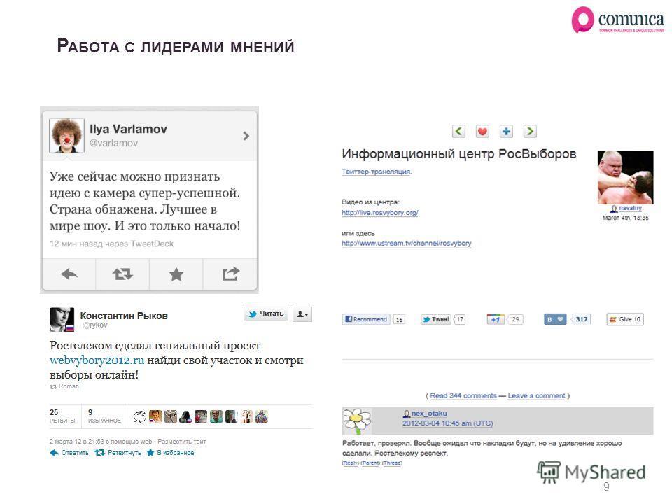 Р АБОТА С ЛИДЕРАМИ МНЕНИЙ 9