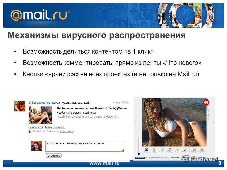 Механизмы вирусного распространения www.mail.ru 3 Возможность делиться контентом «в 1 клик» Возможность комментировать прямо из ленты «Что нового» Кнопки «нравится» на всех проектах (и не только на Mail.ru)