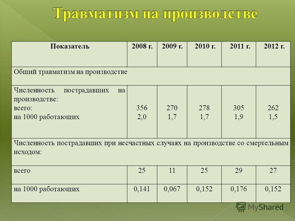 Показатель2008 г.2009 г.2010 г.2011 г.2012 г. Общий травматизм на производстве Численность пострадавших на производстве: всего: на 1000 работающих 356 2,0 270 1,7 278 1,7 305 1,9 262 1,5 Численность пострадавших при несчастных случаях на производстве