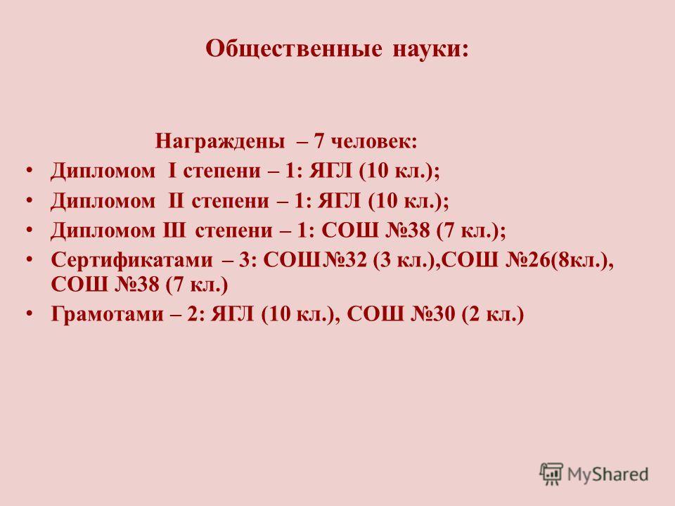 Общественные науки: Награждены – 7 человек: Дипломом I степени – 1: ЯГЛ (10 кл.); Дипломом II степени – 1: ЯГЛ (10 кл.); Дипломом III степени – 1: СОШ 38 (7 кл.); Сертификатами – 3: СОШ32 (3 кл.),СОШ 26(8кл.), СОШ 38 (7 кл.) Грамотами – 2: ЯГЛ (10 кл