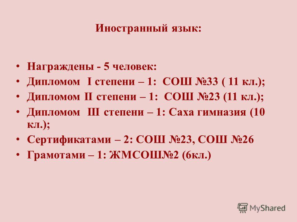 Иностранный язык: Награждены - 5 человек: Дипломом I степени – 1: СОШ 33 ( 11 кл.); Дипломом II степени – 1: СОШ 23 (11 кл.); Дипломом III степени – 1: Саха гимназия (10 кл.); Сертификатами – 2: СОШ 23, СОШ 26 Грамотами – 1: ЖМСОШ2 (6кл.)