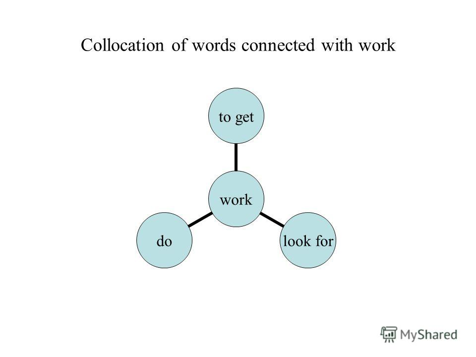 Collocation of words connected with work work to get look for do