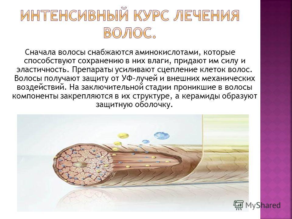 Сначала волосы снабжаются аминокислотами, которые способствуют сохранению в них влаги, придают им силу и эластичность. Препараты усиливают сцепление клеток волос. Волосы получают защиту от УФ-лучей и внешних механических воздействий. На заключительно