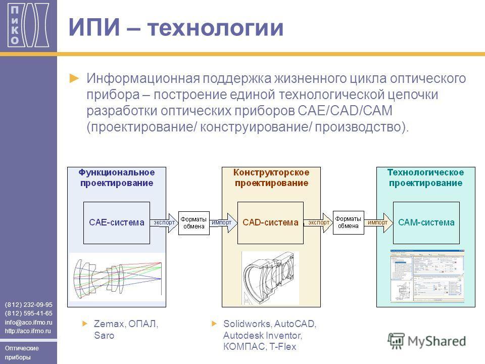 (812) 232-09-95 (812) 595-41-65 info@aco.ifmo.ru http://aco.ifmo.ru Оптические приборы Информационная поддержка жизненного цикла оптического прибора – построение единой технологической цепочки разработки оптических приборов CAЕ/CAD/CAM (проектировани