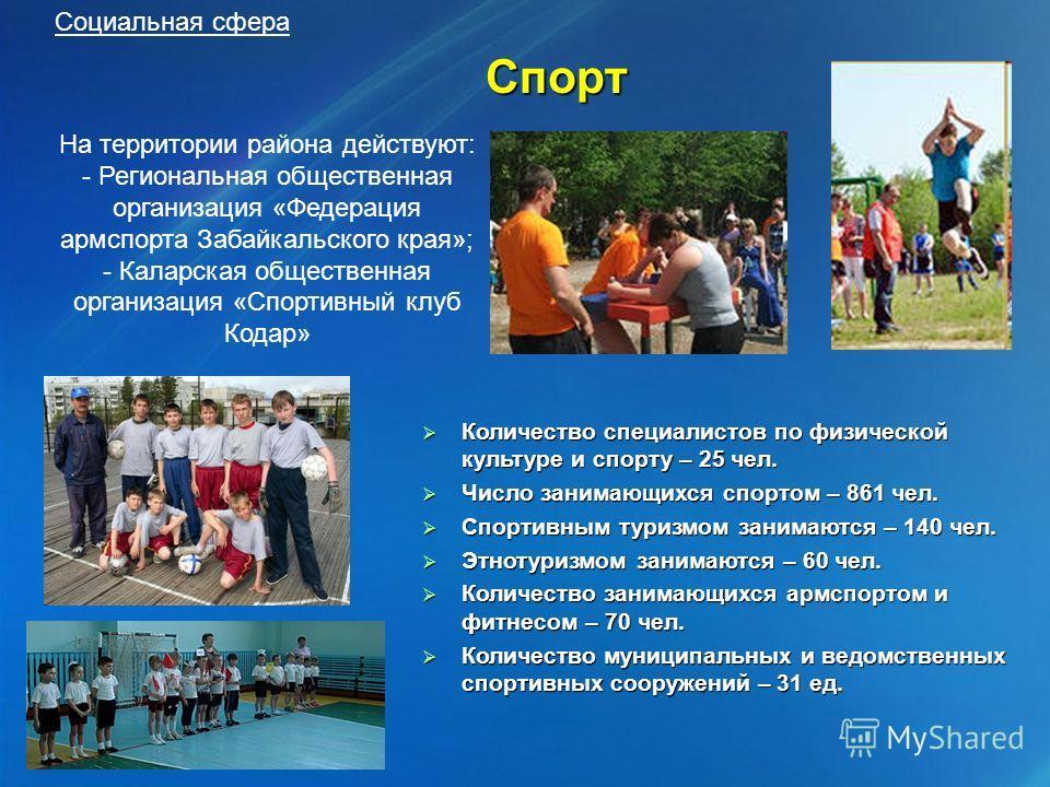 Спорт Количество специалистов по физической культуре и спорту – 25 чел. Количество специалистов по физической культуре и спорту – 25 чел. Число занимающихся спортом – 861 чел. Число занимающихся спортом – 861 чел. Спортивным туризмом занимаются – 140