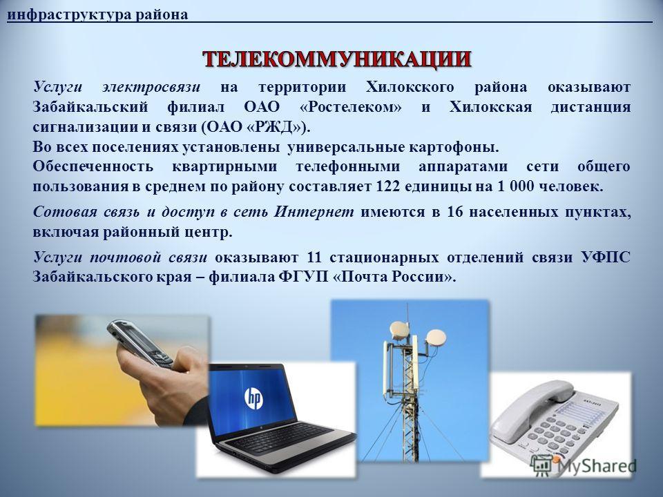 инфраструктура района________________________________________________________ Услуги электросвязи на территории Хилокского района оказывают Забайкальский филиал ОАО «Ростелеком» и Хилокская дистанция сигнализации и связи (ОАО «РЖД»). Во всех поселени
