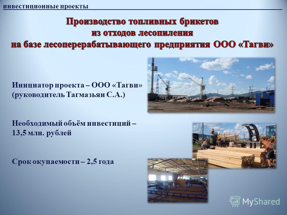 инвестиционные проекты______________________________________________________ Инициатор проекта – ООО «Тагви» (руководитель Тагмазьян С.А.) Необходимый объём инвестиций – 13,5 млн. рублей Срок окупаемости – 2,5 года
