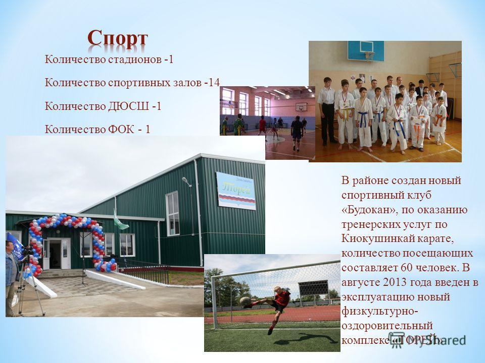 Количество стадионов -1 Количество спортивных залов -14 Количество ДЮСШ -1 Количество ФОК - 1 В районе создан новый спортивный клуб «Будокан», по оказанию тренерских услуг по Киокушинкай карате, количество посещающих составляет 60 человек. В августе
