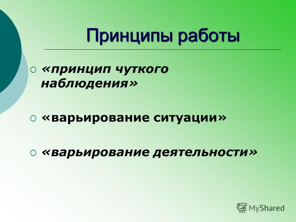 Принципы работы «принцип чуткого наблюдения» «варьирование ситуации» «варьирование деятельности»