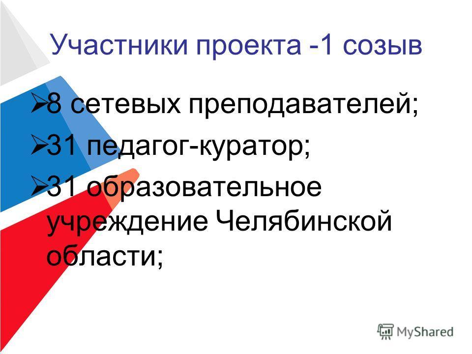 Участники проекта -1 созыв 8 сетевых преподавателей; 31 педагог-куратор; 31 образовательное учреждение Челябинской области;
