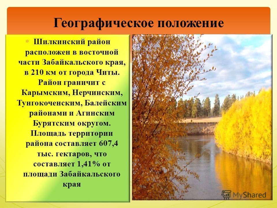 Шилкинский район расположен в восточной части Забайкальского края, в 210 км от города Читы. Район граничит с Карымским, Нерчинским, Тунгокоченским, Балейским районами и Агинским Бурятским округом. Площадь территории района составляет 607,4 тыс. гекта