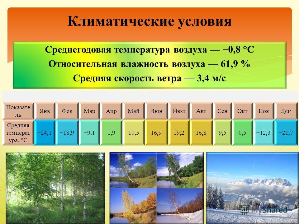 Среднегодовая температура воздуха 0,8 °C Относительная влажность воздуха 61,9 % Средняя скорость ветра 3,4 м/с Климатические условия Показате ль ЯнвФевМарАпрМайИюнИюлАвгСенОктНояДек Средняя температ ура, °C 24,118,99,11,910,516,919,216,89,50,512,321,