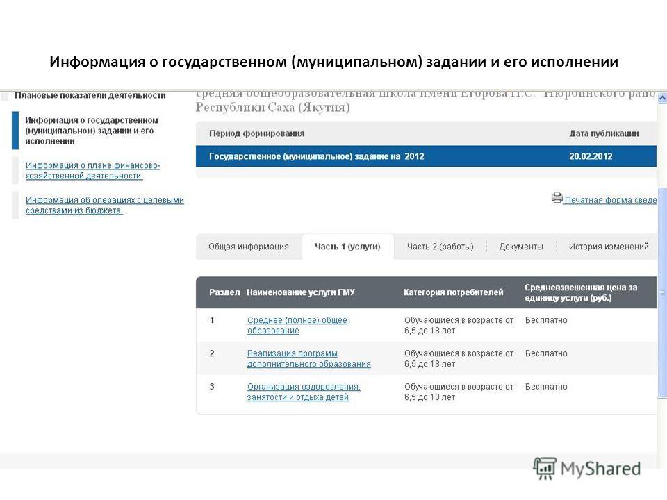 Информация о государственном (муниципальном) задании и его исполнении