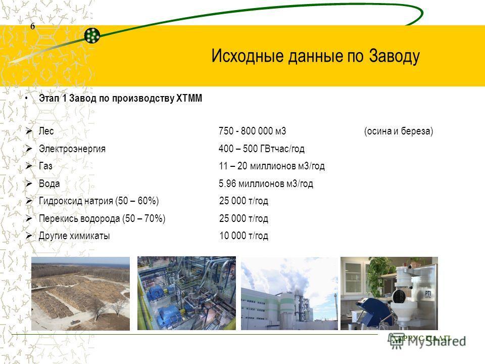 ЛАРРУС ПАЛП 6 Исходные данные по Заводу Этап 1 Завод по производству ХТММ Лес 750 - 800 000 м3 (осина и береза) Электроэнергия400 – 500 ГВтчас/год Газ 11 – 20 миллионов м3/год Вода 5.96 миллионов м3/год Гидроксид натрия (50 – 60%) 25 000 т/год Переки