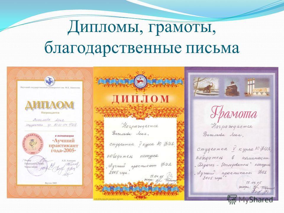 Дипломы, грамоты, благодарственные письма