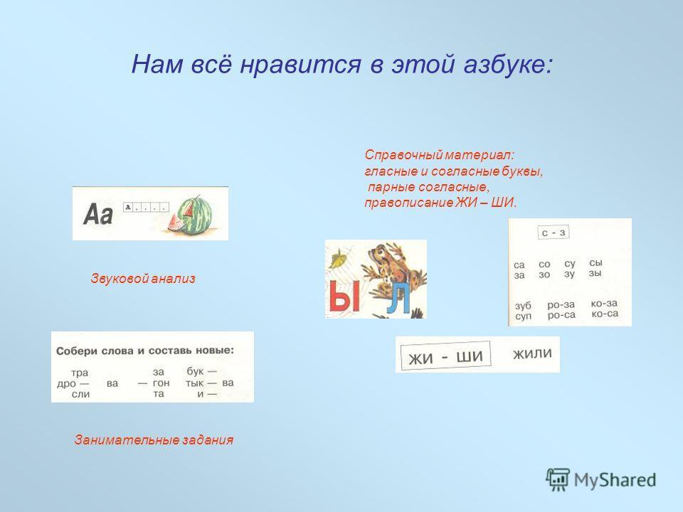 Звуковой анализ Справочный материал: гласные и согласные буквы, парные согласные, правописание ЖИ – ШИ. Занимательные задания Нам всё нравится в этой азбуке: