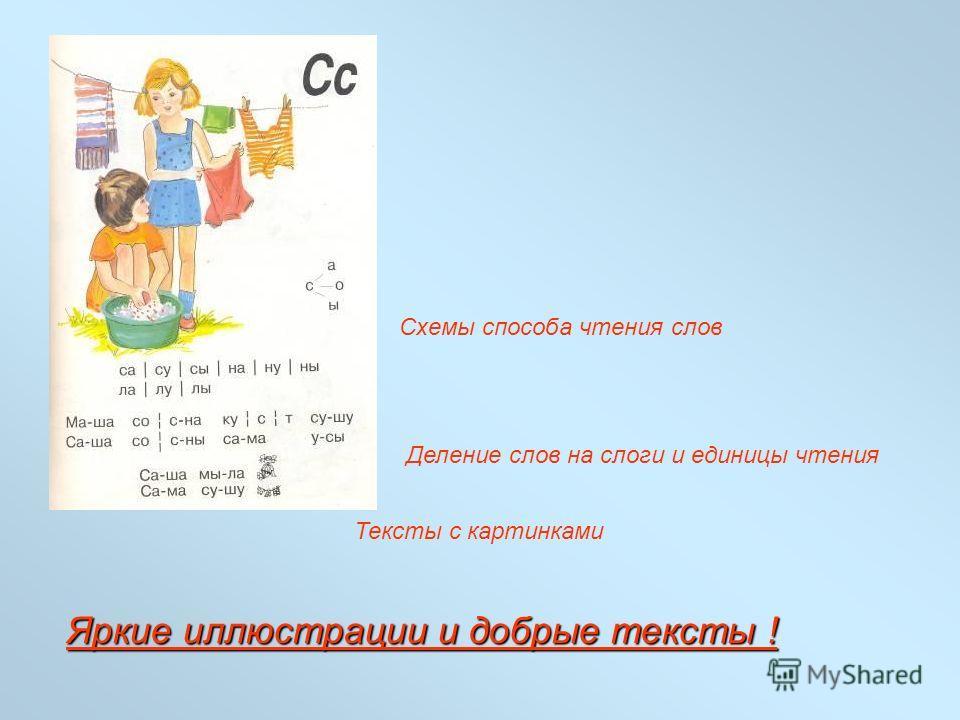 Схемы способа чтения слов Деление слов на слоги и единицы чтения Тексты с картинками Яркие иллюстрации и добрые тексты !
