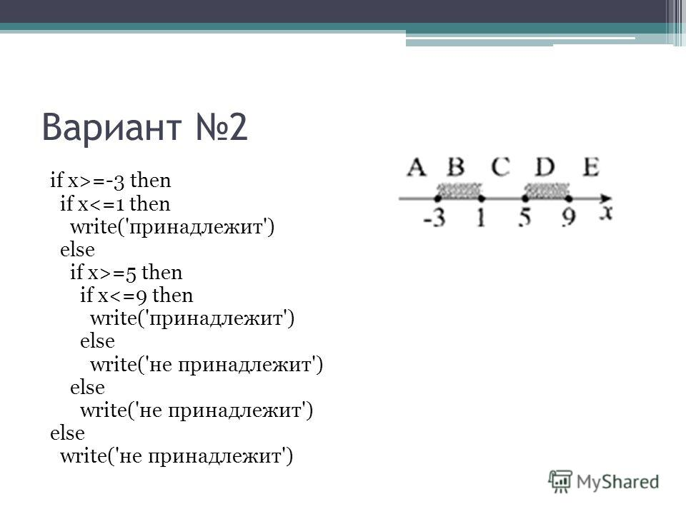 Вариант 2 if x>=-3 then if x=5 then if x