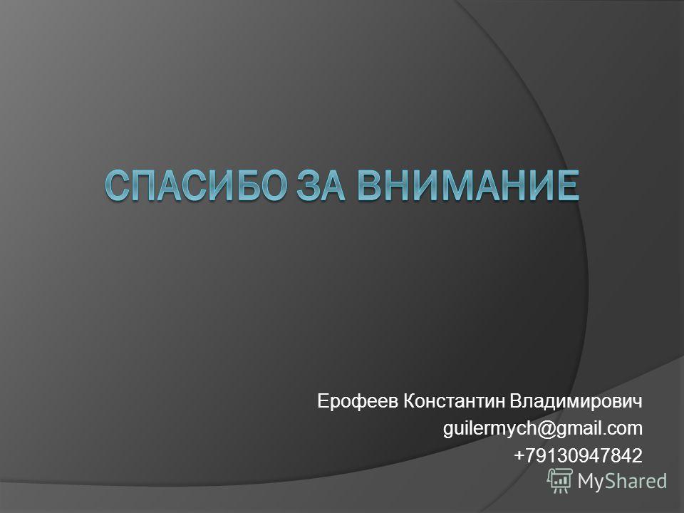 Ерофеев Константин Владимирович guilermych@gmail.com +79130947842