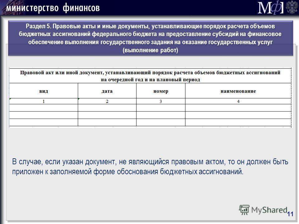 Раздел 5. Правовые акты и иные документы, устанавливающие порядок расчета объемов бюджетных ассигнований федерального бюджета на предоставление субсидий на финансовое обеспечение выполнения государственного задания на оказание государственных услуг (