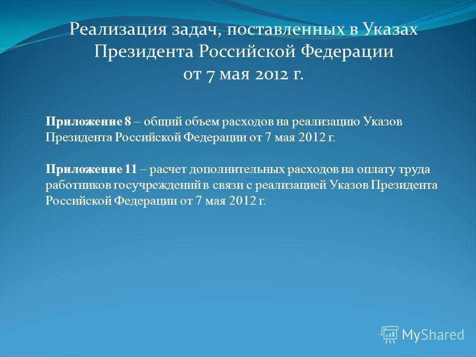 Реализация задач, поставленных в Указах Президента Российской Федерации от 7 мая 2012 г. Приложение 8 – общий объем расходов на реализацию Указов Президента Российской Федерации от 7 мая 2012 г. Приложение 11 – расчет дополнительных расходов на оплат