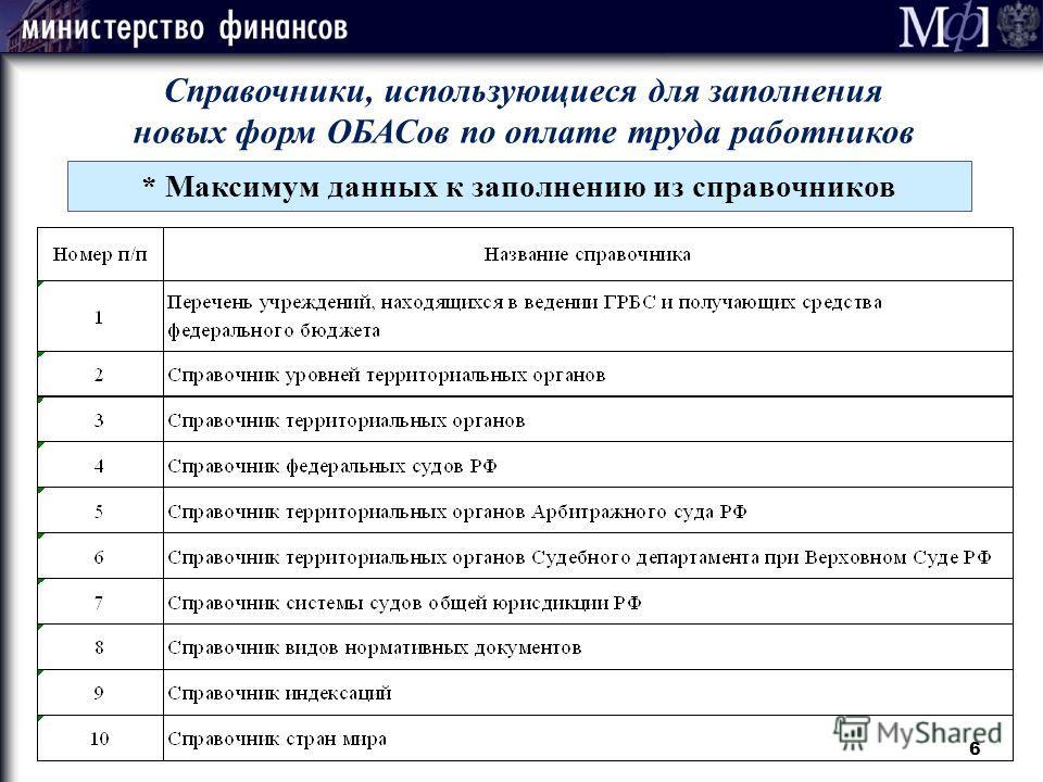 6 Справочники, использующиеся для заполнения новых форм ОБАСов по оплате труда работников * Максимум данных к заполнению из справочников