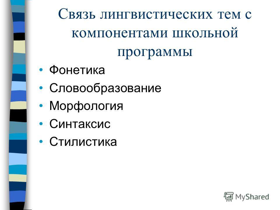 Связь лингвистических тем с компонентами школьной программы Фонетика Словообразование Морфология Синтаксис Стилистика