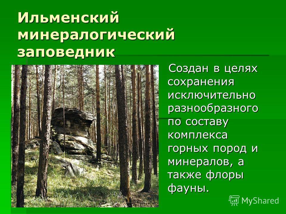 Ильменский минералогический заповедник Создан в целях сохранения исключительно разнообразного по составу комплекса горных пород и минералов, а также флоры фауны. Создан в целях сохранения исключительно разнообразного по составу комплекса горных пород