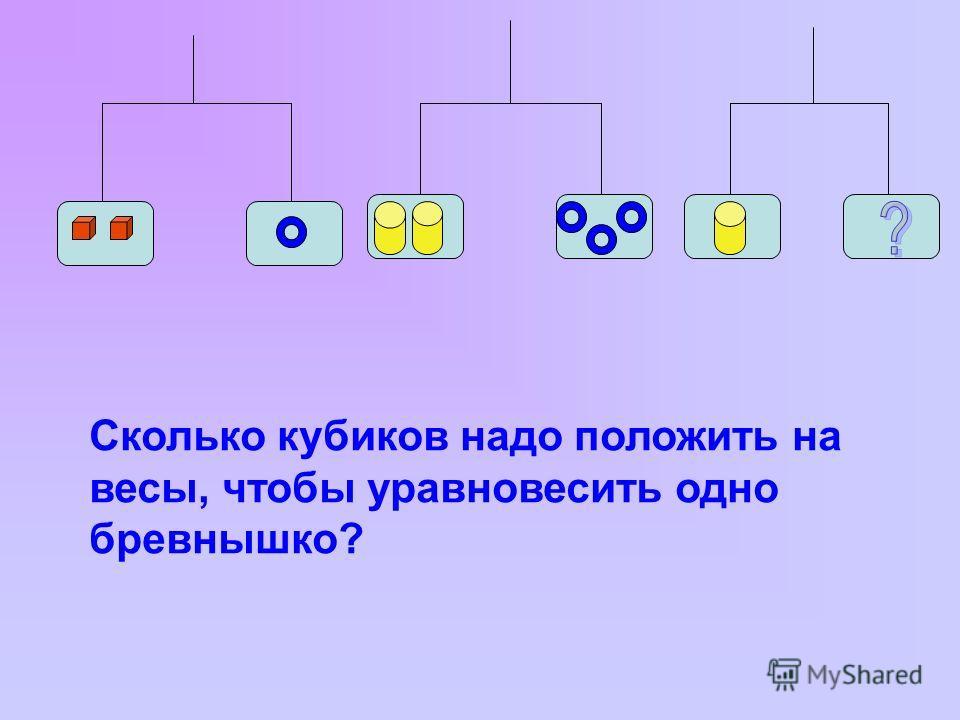 Сколько кубиков надо положить на весы, чтобы уравновесить одно бревнышко?