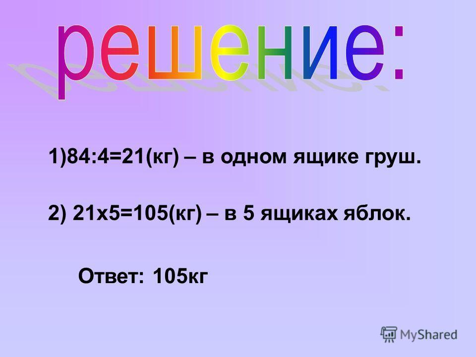 1)84:4=21(кг) – в одном ящике груш. 2) 21х5=105(кг) – в 5 ящиках яблок. Ответ: 105кг