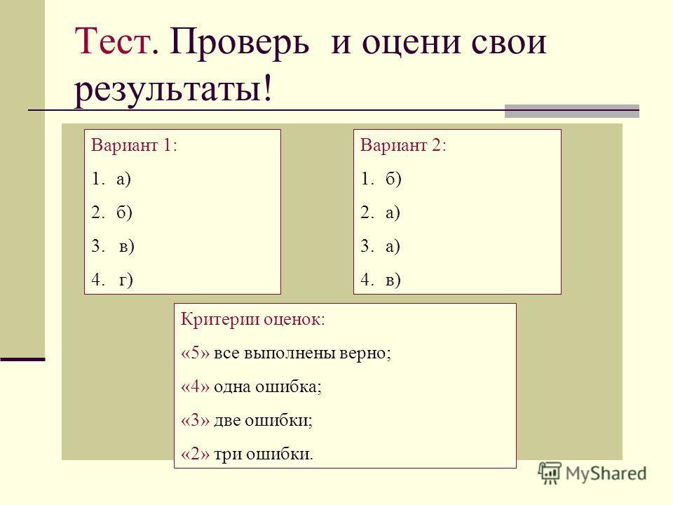 Тест. Проверь и оцени свои результаты! Вариант 1: 1.а) 2.б) 3. в) 4. г) Вариант 2: 1.б) 2.а) 3.а) 4.в) Критерии оценок: «5» все выполнены верно; «4» одна ошибка; «3» две ошибки; «2» три ошибки.