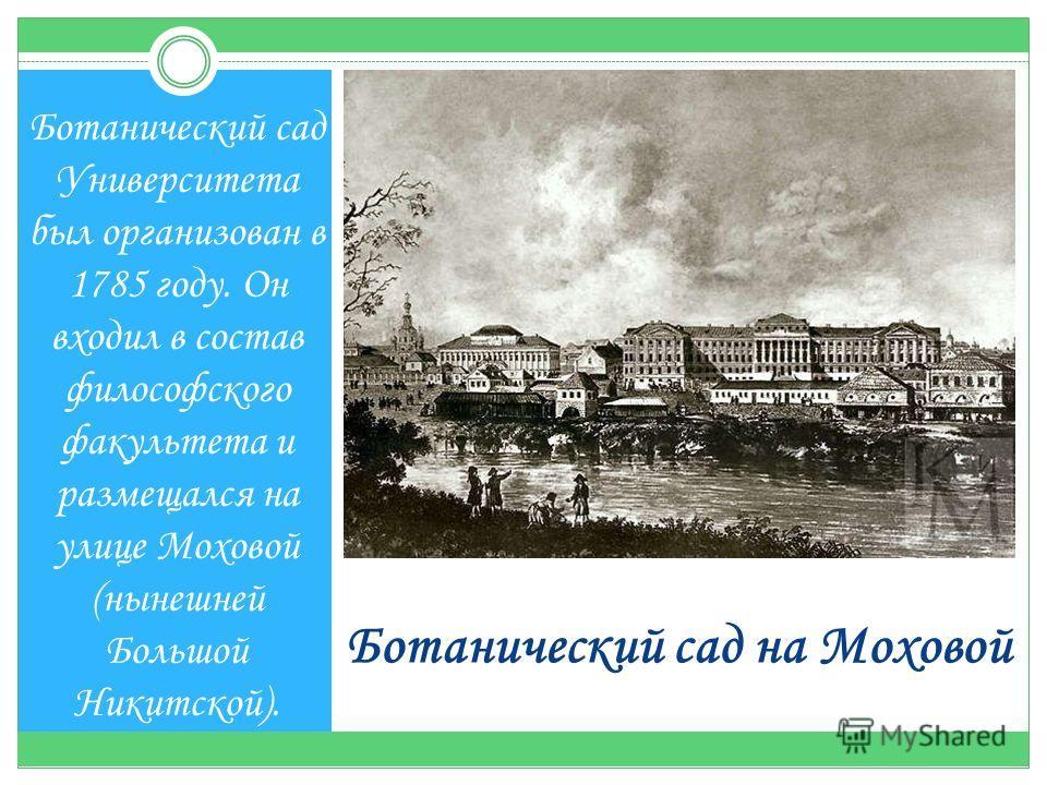 Ботанический сад на Моховой Ботанический сад Университета был организован в 1785 году. Он входил в состав философского факультета и размещался на улице Моховой (нынешней Большой Никитской).
