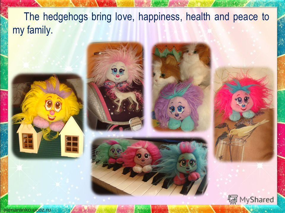 The hedgehogs bring love, happiness, health and peace to my family.