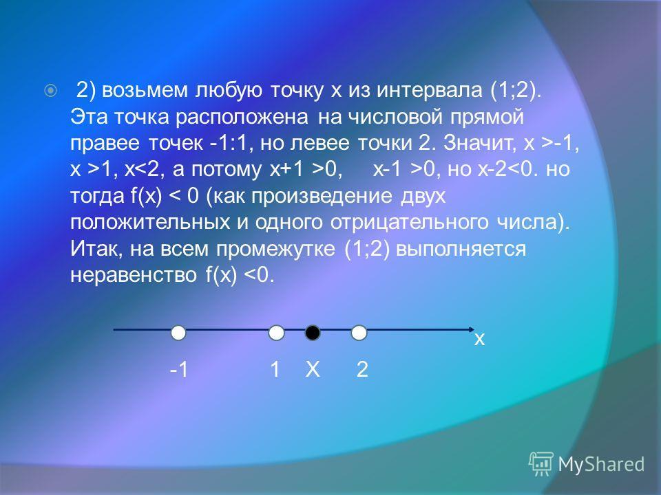2) возьмем любую точку х из интервала (1;2). Эта точка расположена на числовой прямой правее точек -1:1, но левее точки 2. Значит, х >-1, х >1, х 0, х-1 >0, но х-2